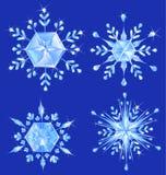 Un fiocco di neve dei quattro cristalli Fotografia Stock Libera da Diritti