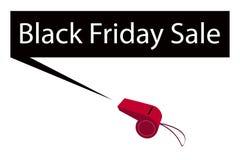 Un fischio rosso che soffia l'insegna di Black Friday Fotografie Stock Libere da Diritti