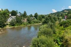 Un fiume che scorre lungo nascosto fra gli alberi ed i cespugli verdi delle case rurali private e della montagna coperta di fores Fotografia Stock Libera da Diritti