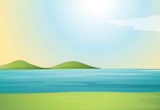 Un fiume e colline royalty illustrazione gratis