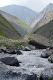 Un fiume a flusso rapido della montagna nella maggior gamma di Caucaso, parco nazionale di Shahdag, Azerbaigian Fotografia Stock Libera da Diritti