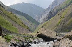 Un fiume a flusso rapido della montagna nella maggior gamma di Caucaso, parco nazionale di Shahdag, Azerbaigian Fotografie Stock Libere da Diritti
