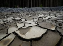 Un fiume inaridito dovuto mancanza di precipitazione e di disboscamento fotografia stock libera da diritti