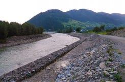 Un fiume rapido della montagna con la pietra conta da entrambi i lati contro lo sfondo di alta montagna verde Immagine Stock
