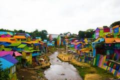 Un fiume su Jodipan il villaggio di Colorize Fotografia Stock Libera da Diritti