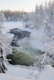 Un fiume su un paesaggio nevoso Immagini Stock Libere da Diritti