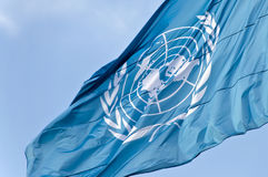 UN flag. Picture of United Nation flag, situated in Rome Stock Images