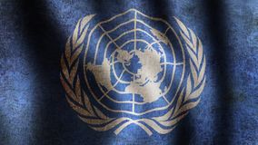 UN Flag. Looping, waving, paning, A beautiful finish looping flag animation of Unation Nations. A fully digital rendering using the official flag design in a stock video