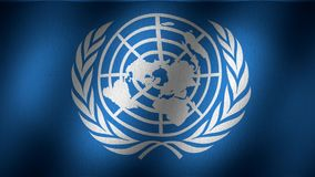 UN flag. United Nations flag animated, waving flag composed by a graphic that represents the world continents rounded by olive leaves over a blue back, fabric stock video