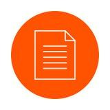 Un foglio di carta con un angolo curvo e un articolo del testo, un'icona rotonda monocromatica, uno stile piano Fotografia Stock
