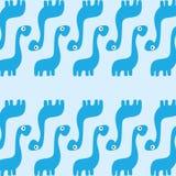 Un fond bleu de dinosaures de bande dessinée mignonne de vecteur Image libre de droits