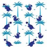 Un fond bleu de dinosaures de bande dessinée mignonne de vecteur Photo stock