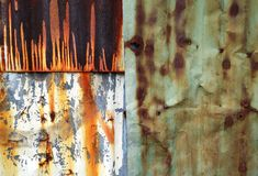 Un fond d'image abstrait de zinc ondulé rouillé couvre Images stock