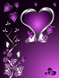Un fond de jour de Valentines de coeurs pourprés Images libres de droits