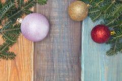 Un fond de Noël en bois coloré ou de nouvelle année Photo libre de droits