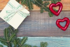 Un fond de Noël en bois coloré ou de nouvelle année avec un cadre Photo libre de droits