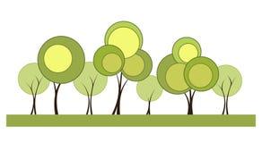 Un fondo allegro con gli alberi stilizzati Fotografia Stock