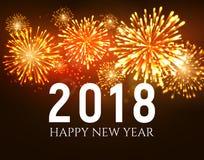 Un fondo brillante di 2018 fuochi d'artificio del nuovo anno Il fuoco d'artificio di Natale celebra la festa 2018 illustrazione vettoriale