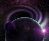 Un fondo cosmico di due pianeti illustrazione di stock