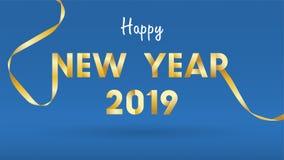 Un fondo da 2019 buoni anni per il fondo stagionale delle alette di filatoio e della cartolina d'auguri o degli inviti con i fuoc royalty illustrazione gratis