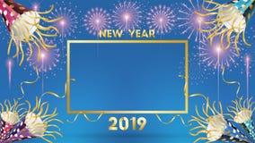 Un fondo da 2019 buoni anni per le alette di filatoio e cartolina d'auguri stagionali o inviti con i fuochi d'artificio moderno e royalty illustrazione gratis
