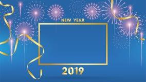 Un fondo da 2019 buoni anni per le alette di filatoio e cartolina d'auguri stagionali o inviti con i fuochi d'artificio moderno e illustrazione vettoriale