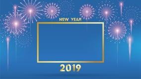 Un fondo da 2019 buoni anni per le alette di filatoio e cartolina d'auguri stagionali o inviti con i fuochi d'artificio moderno e illustrazione di stock