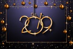 Un fondo da 2019 buoni anni per le vostri alette di filatoio e Gree stagionali illustrazione di stock
