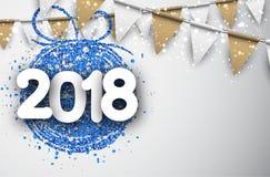 Un fondo da 2018 nuovi anni con le bandiere Fotografia Stock