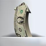 Un fondo de la flecha del dólar Imagen de archivo libre de regalías