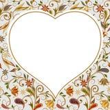 Un fondo del corazón con el estampado de flores ilustración del vector