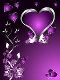 Un fondo del día de tarjetas del día de San Valentín de corazones púrpuras Imágenes de archivo libres de regalías
