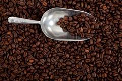 Un fondo del grano de café con una cucharada de plata Imágenes de archivo libres de regalías