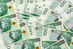Un fondo di 100 banconote di PLN Fotografie Stock Libere da Diritti