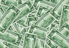 un fondo di 50 banconote in dollari Fotografia Stock