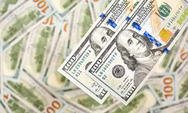 Un fondo di 100 banconote in dollari Americano dei soldi cento Bi del dollaro Fotografia Stock