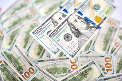 Un fondo di 100 banconote in dollari Americano dei soldi cento Bi del dollaro Fotografia Stock Libera da Diritti
