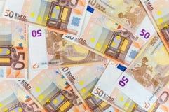 Un fondo di 50 euro banconote Immagini Stock Libere da Diritti