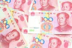 Un fondo di 100 fatture di yuan Immagini Stock Libere da Diritti