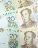 Un fondo di 20 fatture di yuan Immagine Stock