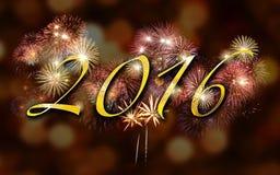 Un fondo di 2016 fuochi d'artificio, partito Fotografia Stock