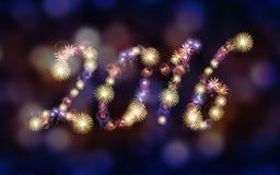 Un fondo di 2016 fuochi d'artificio, partito Fotografie Stock