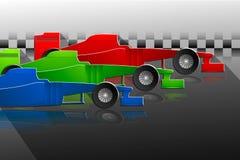 Un fondo di tre vetture da corsa Fotografie Stock Libere da Diritti