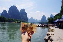 Un fondo di venti yuan Fotografia Stock Libera da Diritti