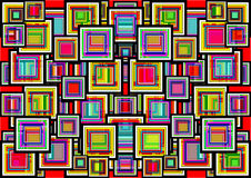 Un fondo geometrico astratto dei quadrati colorati Fotografia Stock