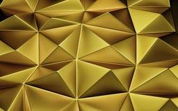 Un fondo geometrico dell'oro astratto 3d rendono fotografia stock