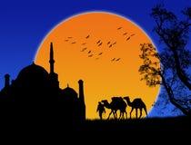 Un fondo islámico de la puesta del sol