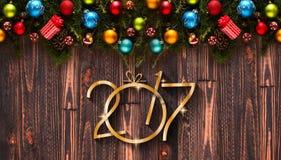 Un fondo stagionale da 2017 buoni anni con le bagattelle di Natale Immagine Stock Libera da Diritti