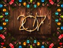 Un fondo stagionale da 2017 buoni anni con le bagattelle di Natale Fotografie Stock Libere da Diritti