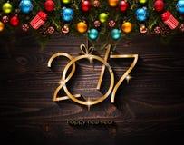 Un fondo stagionale da 2017 buoni anni con le bagattelle di Natale Fotografia Stock
